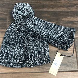 Rebecca Minkoff beanie hat & armwarmer set